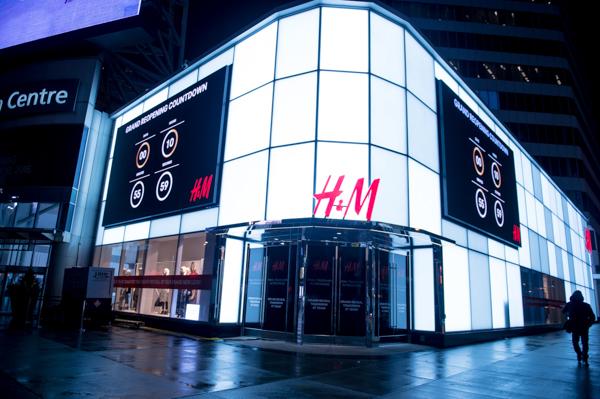 H&M Eaton Centre's new exterior facade
