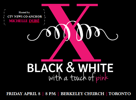 black and white with a touch of pink gala