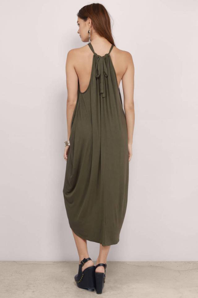 "TOBI's ""Destination Anywhere Olive Surplice Maxi-dress"