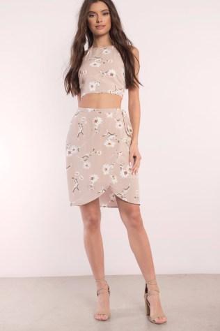 Tobi online fashion retailer's RUTHIE TAUPE MULTI FLORAL PRINT WRAP SKIRT