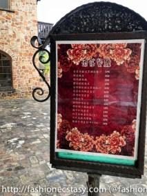 Taichung Xinshe Castle Wine Chateau Restaurant menu