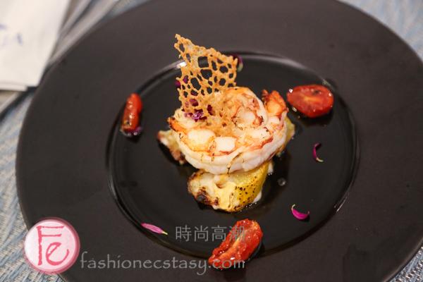 欣藍舍精選套餐前菜:天使紅蝦焗烤節瓜 ( Blue Villa set-menu Appetizer: Shrimp with Zucchini)