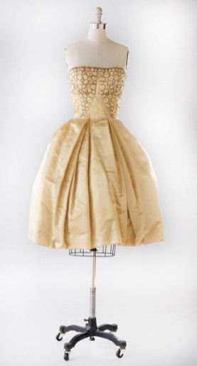 Evening dress, early 1960sMaker unknownSilk with glass bead embroideryCollection of Milli Gould, worn in 1960s to her nephew's Bar Mitzvah