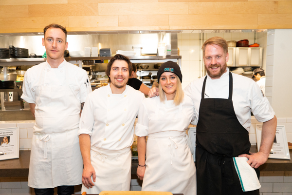 chefs Jamie Crosby, Vince Stacey, Meaghan Evely, Ryan O'Donnell at Savour Stratford Culinary Guide #nextgen chef Launch at richmond station