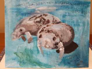 Belize manatee painting by Tanya Hsu