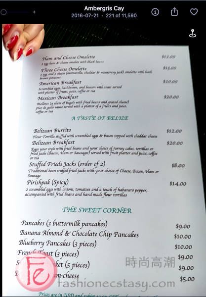 Local Belizean breakfast menu