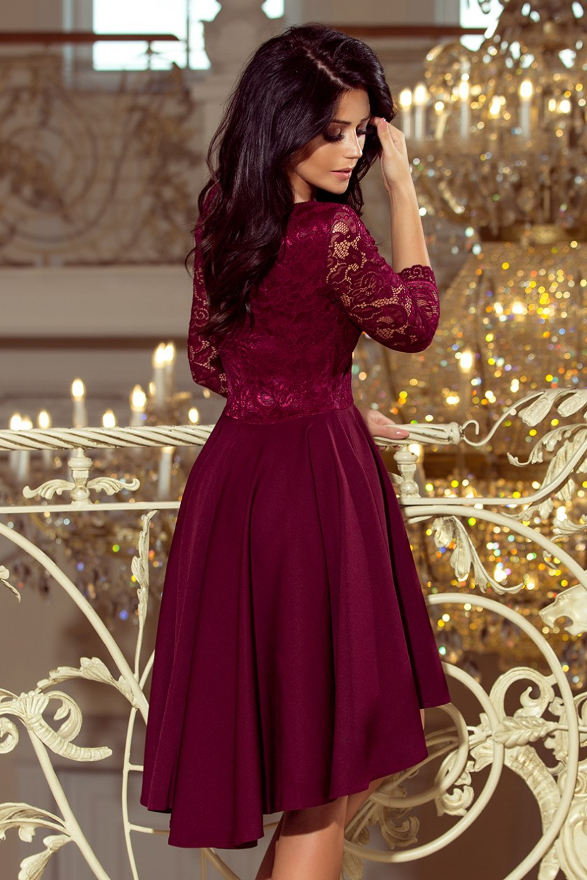 cocktail dress nude burgundy back -