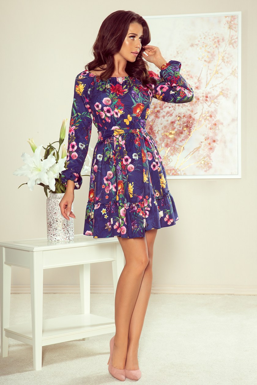 floral dress navy front -