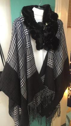 """Poncho black/white check, $26.00 - Faux Fur collar """"new"""" $30.00 ( we have many different colors)"""