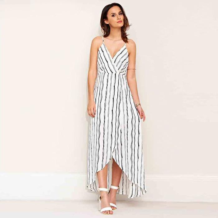 Lucy Watson Monochrome Stripe Maxi Dress