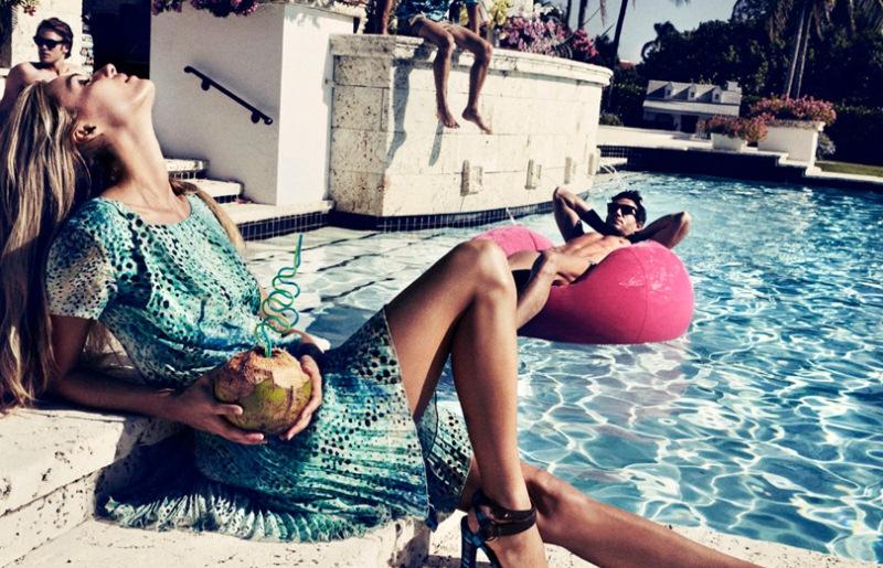 Valentina Zelyaevas Chic Pool Party for Velvet June Lensed by Marcus Ohlsson