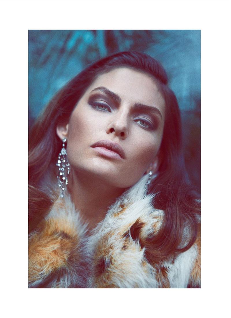 AlyssaLingerie3 Alyssa Miller Wows in Fur Styles for Harpers Bazaar Turkey December by Koray Birand