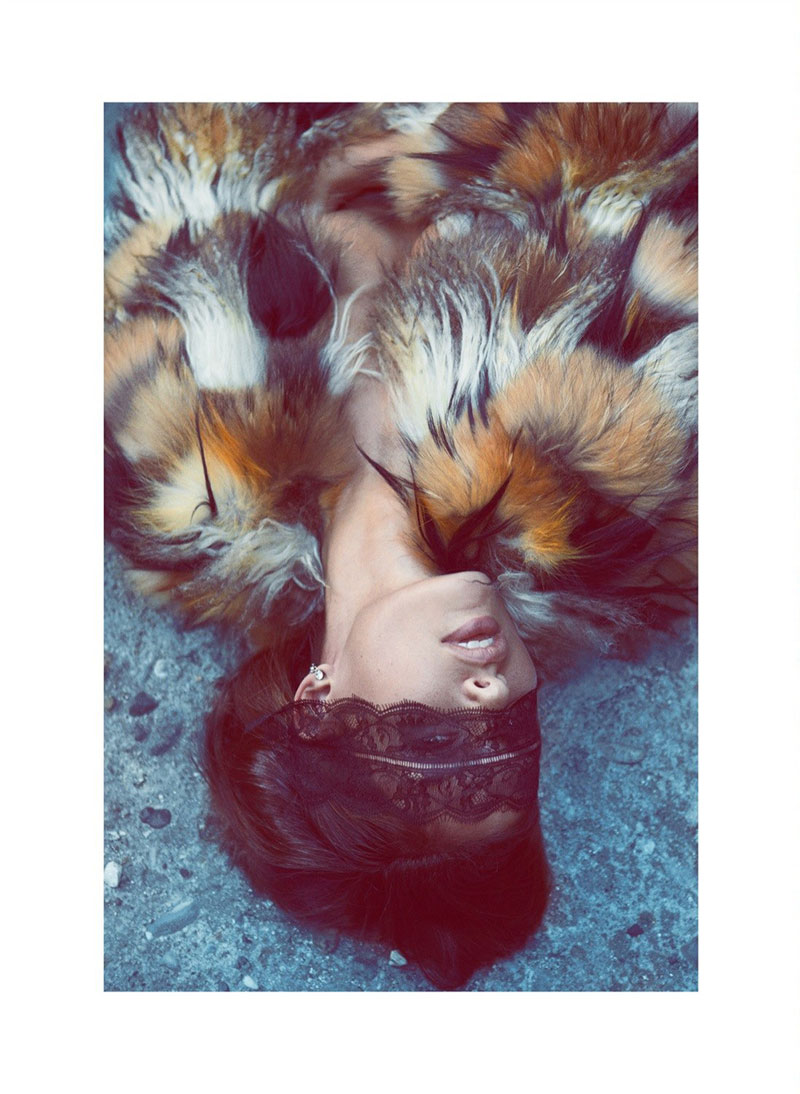 AlyssaLingerie6 Alyssa Miller Wows in Fur Styles for Harpers Bazaar Turkey December by Koray Birand