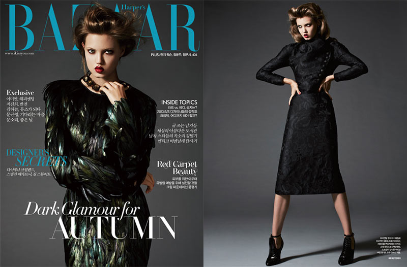 lindsey wixson5 Lindsey Wixson is Glam in Gucci for Harpers Bazaar Korea November 2012 by Michael Schwartz