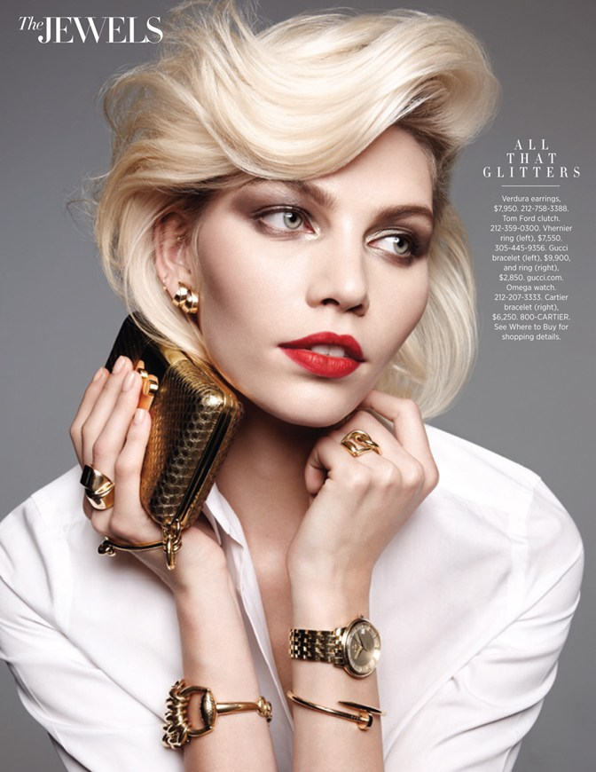 aline weber jewels3 Aline Weber Shines for Amy Troost in Harpers Bazaar US March 2013