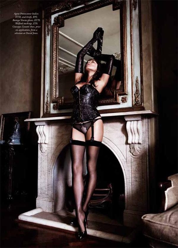 jessica gomes lingerie6 Jessica Gomes Seduces in Agent Provocateur for Harpers Bazaar Australia by Simon Lekias