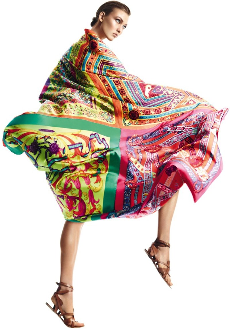 Karlie Kloss Gets Wrapped in Scarves for Herms SS 2013