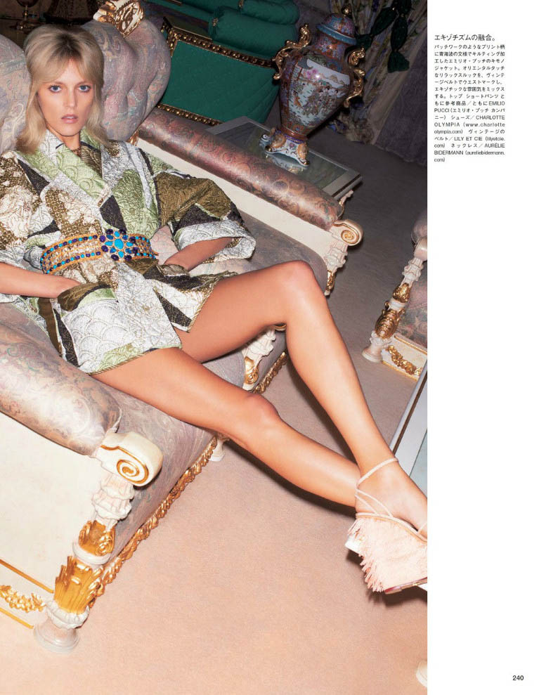 anja vogue japan7 Anja Rubik är 70s Glam för Vogue Japan juni 2013 av Katja Rahwles