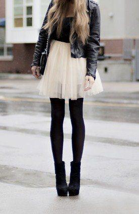 tulle skirt, tights, booties winter 2013