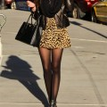 Cute leopard print winter street style outfit