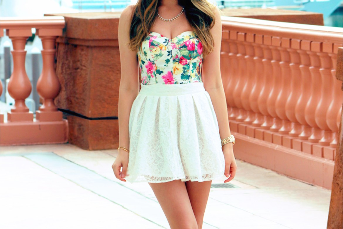 Stalk My Style: Floral Bustier & White Lace Mini