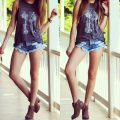 perfect summer outfit denim shorts boots