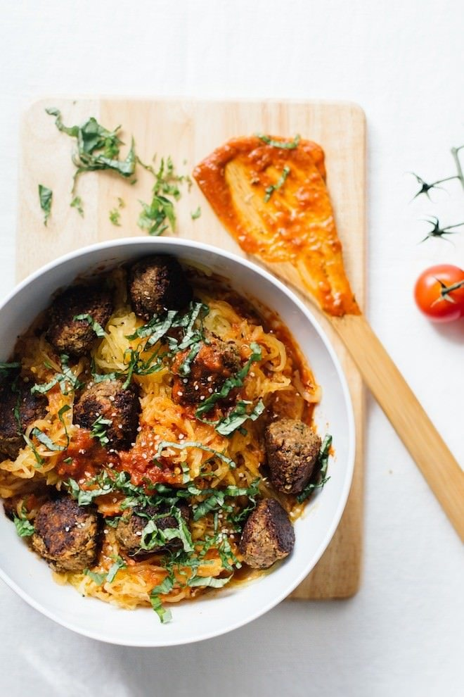 Spaghetti Squash and chickpea meatballs & other healthy recipes by clean-eating food bloggers!