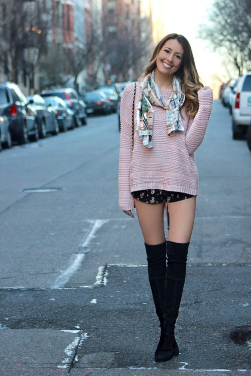 oversized sweater, mini shorts & lowland over the knee boots