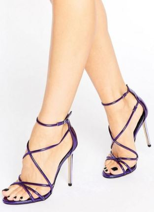 Asos office spindle purple mirror sandals