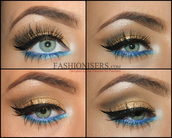 Gold Makeup Tutorial with Blue Under-Eye Liner