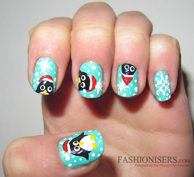 New Year's Eve Nail Art Designs - Penguin Nails