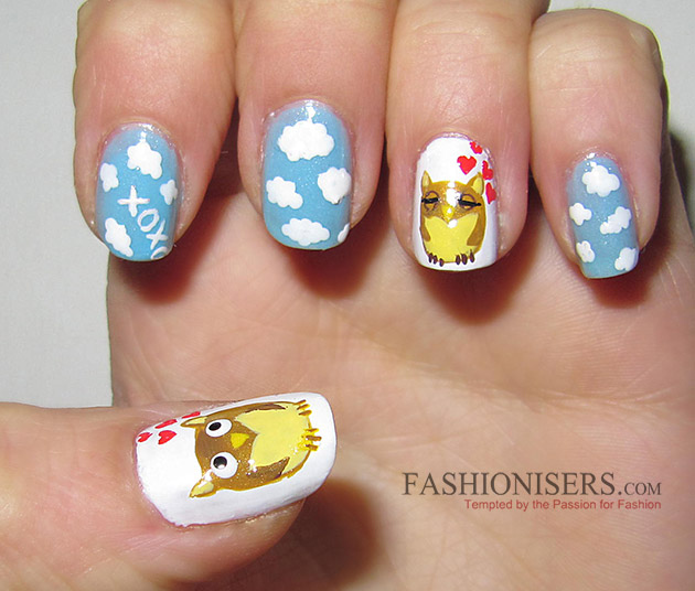 17 Love-Inspired Valentine's Day Nail Art Designs: Loving Owls Nails