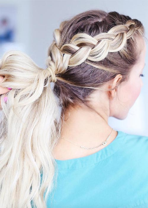 Pretty Holiday Hairstyles Ideas: Double Braided Ponytail
