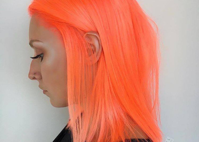 Neon Peach Hair Is The New Instagram Trend Straight Neon Peach Hair