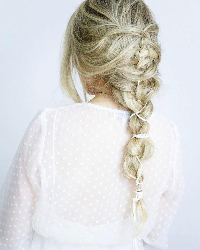 Prettiest Hairstyle Ideas for Fall loose braid with ribbon