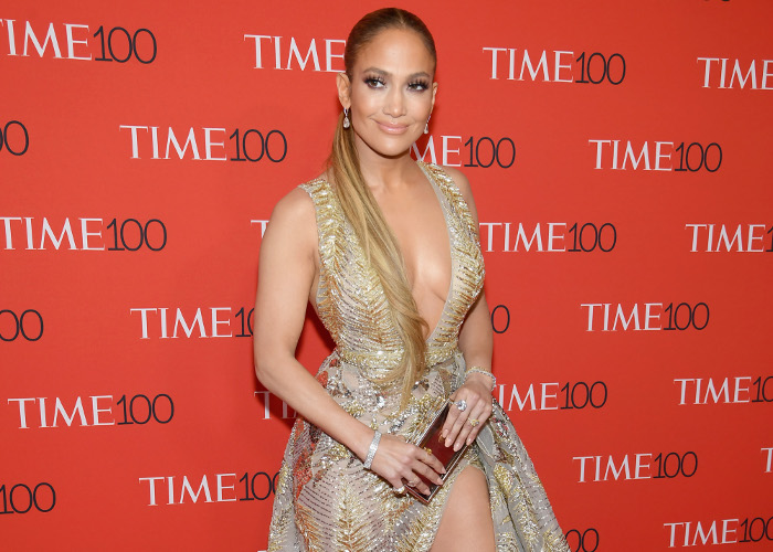 J Lo Pulls Off Plunging Neckline and Thigh High Slit All at Once