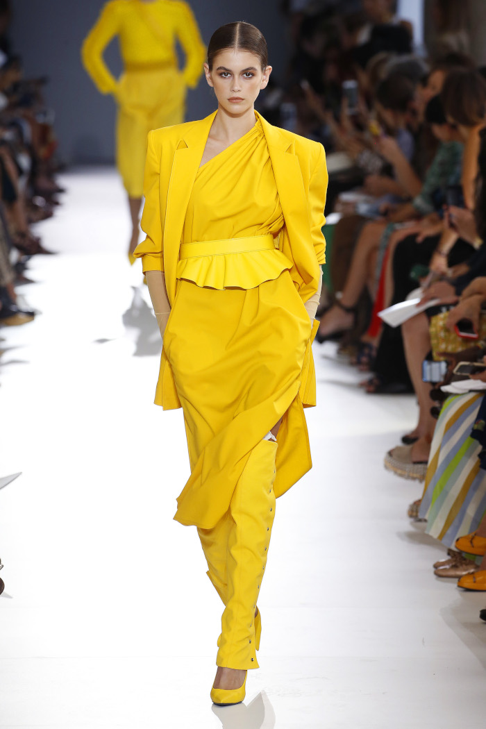 The Runways Dictate There's A New Way To Stand Out In Monochrome yellow dress boots jacket