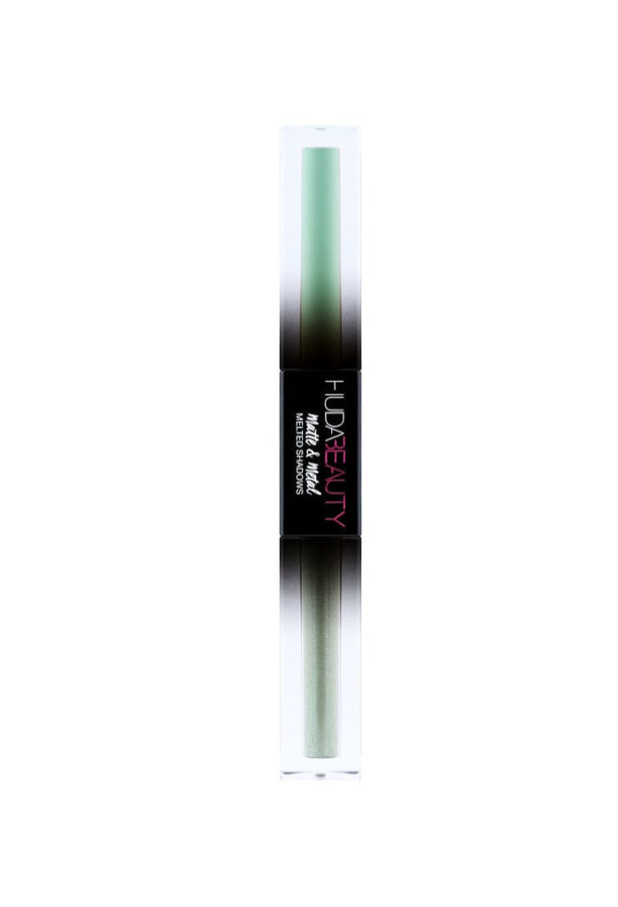 best mint green makeup products - huda beauty matte & metal melted shadows dinero