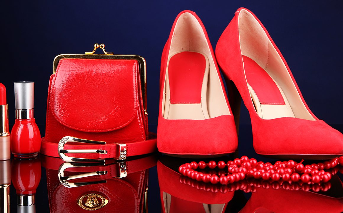 Beautiful red female accessories and cosmetics,