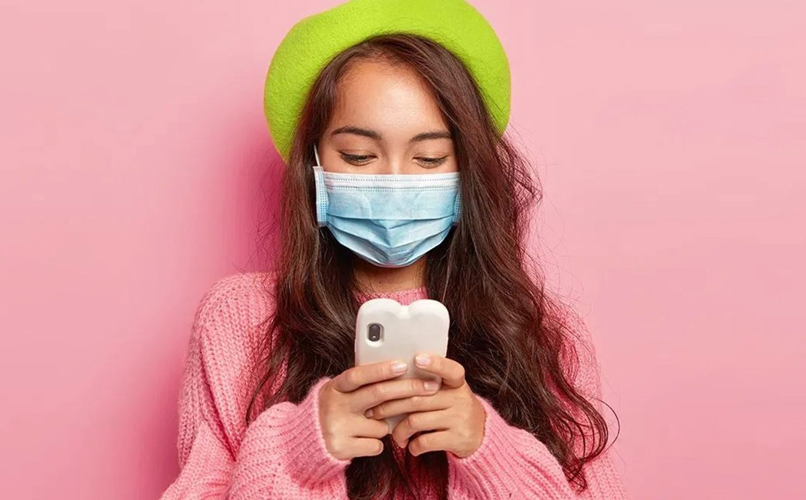 lets-talk-masks-coronavirus-pandemic-mask-fashion-cute-girl-on-phone-in-mask