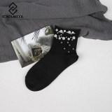 Pearl Gold Silver Handmade Cotton Edge Socks