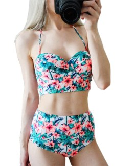 Floral Print High Waist Swimsuit