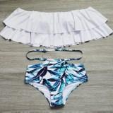 High Waist Swimsuit Striped Bottom Bikini Set