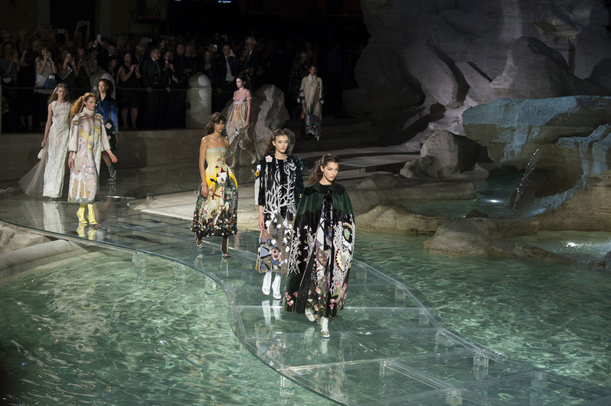 Models Walked on Water at Fendis 90Year Anniversary Show