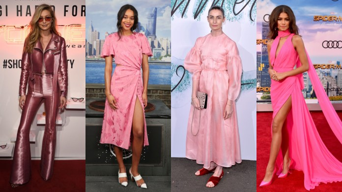 Gigi Hadid in Kreist. Photo: Getty Images for Vogue Eyewear; Laura Harrier in Prabal Gurung. Photo: Rob Kim/Getty Images; Erin O'Connor in Emilia Wickstead. Photo: Jeff Spicer/Getty Images; Zendaya in custom Ralph & Russo. Photo: Alberto E. Rodriguez/Getty Images