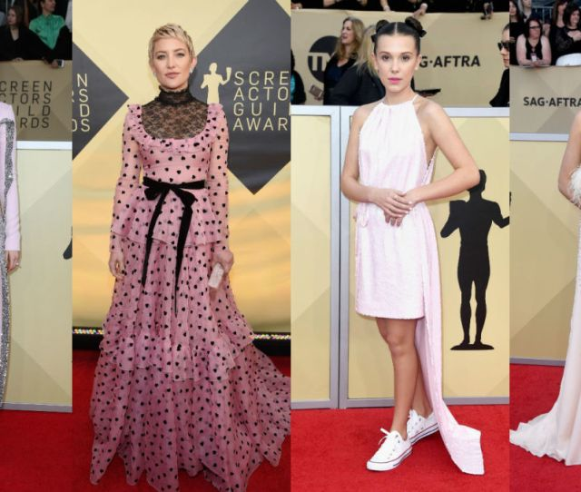 Saoirse Ronan Kate Hudson Millie Bobby Brown And Margot Robbie At The 2018 Sag