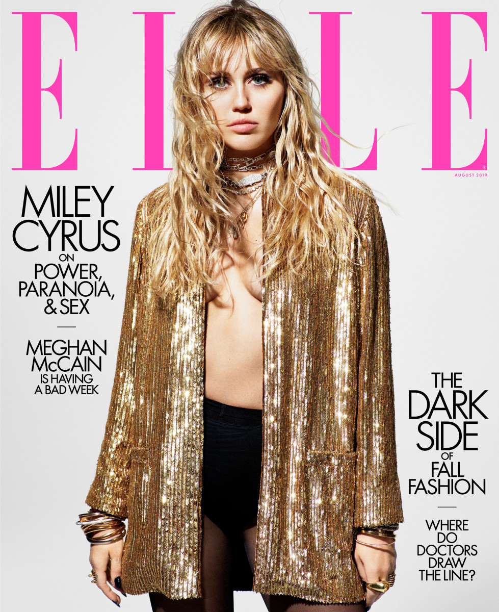 """Miley Cyrus on the August issue of """"Elle."""" Photo: Mario Sorrenti"""