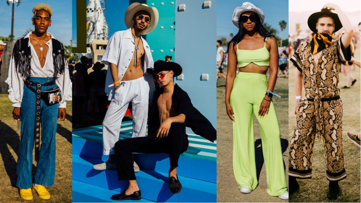 Yeehaw looks at Coachella 2019. Photos: Emily Malan/Fashionista (3); Mike Winkelmeyer/Getty Images