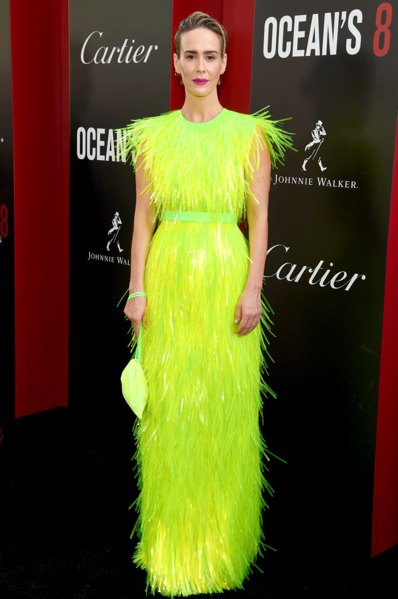 """Sarah Paulson attends the world premiere of """"Ocean's 8"""" on June 5, 2018 in New York City."""
