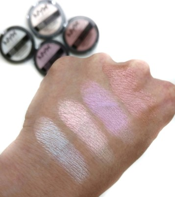 NYX duo chromatic illuminating powder swatches